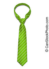 Green Tie - Green and White Striped Tie Isolated on White...