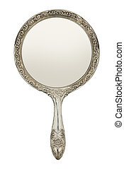 Hand Mirror - Silver Hand Mirror Front View Isolated on...