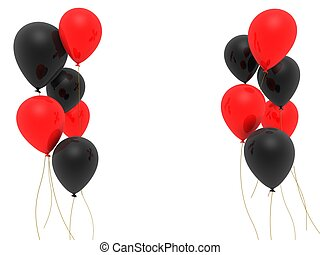 red and black balloons - 3d rendered illustration of some...