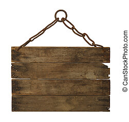 Hanging Sign - Woodn Sign haning on Chain with Copy Space...