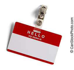 Hello My Name Is Tag - Red and White Plastic Name Tag with...