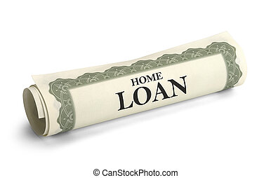 Home Loan - Rolled Up Home Loan Contract Isolated on White...