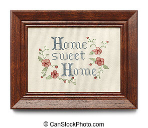 Home Sweet Home - Cross Stitch in Wood Frame Isolated on...