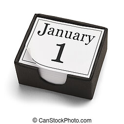 January First - New Years Day Desk Calendar Isolated on...