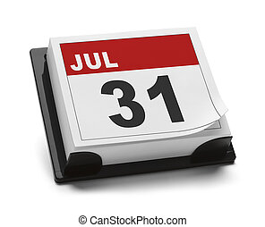 July 31 - Last Day of July Calendar Isolated on White...