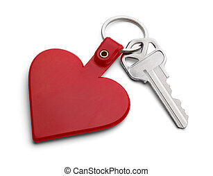 Key to Heart - Key with Red Heart Key Chain Isolated on...