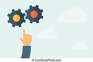 Hand pointing to gear icon - A hand pointing to gear icon. A...