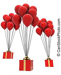balloons and presents - 3d rendered illustration of gifts...