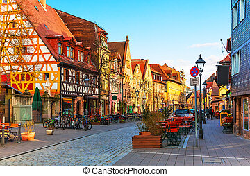 Furth, Bavaria, Germany - Scenic sunset view of ancient...