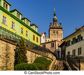 Clock tower in Sighisoara - stairs leading to clock tower in...