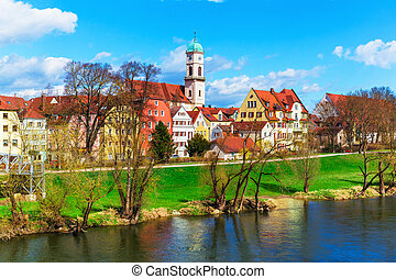 Regensburg, Bavaria, Germany - Scenic spring view of old...