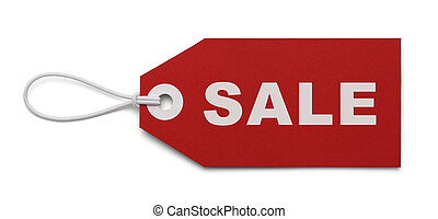 Large Sales Tag - Red Tag with the word Sale on it, Isolated...