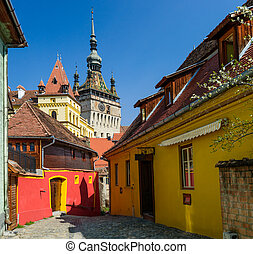 Sighisoara in Transylvania, Romania - Clock Tower in...