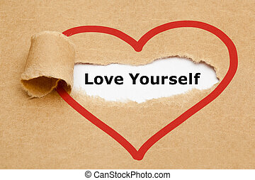 Love Yourself Torn Paper - The text Love Yourself appearing...