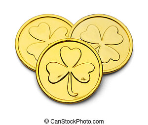 Leprechaun Clover Gold Coins - Three Gold Coins with Three...