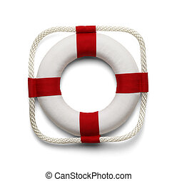 Life Belt - Life Preserver Isolated on White Background.