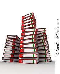 binders - 3d rendered illustration of many red folders