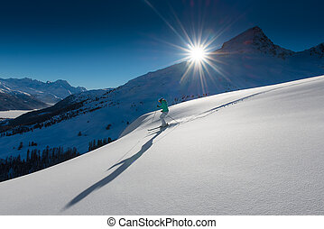 girl in off-piste skiing