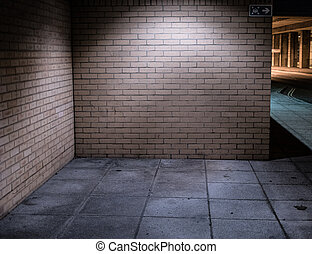 Illuminated Street Alcove Corner at Night - Brick Walls of...