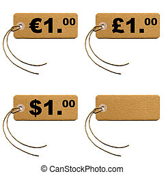 Tag label - Price tag with string isolated over white