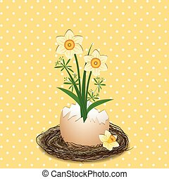 Easter Holiday Illustration Yellow Daffodil Flower on Polka Dot Background