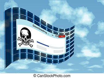 illegal download. flag with skull and sign of downloading