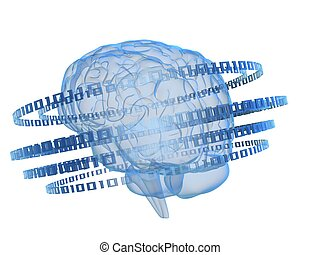 binary brain - 3d rendered illustration of digital rings...
