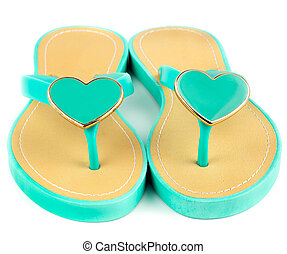 Green flip-flop - Women's green flip-flop with hearts
