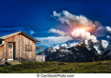 isolated mountain hut