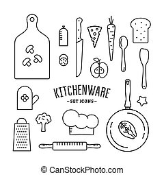 Kitchenware and food icons set. Outline style vector...