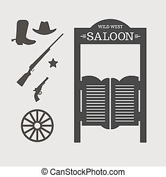 Wild West - Western icons. Saloon door silhouette. Vector...