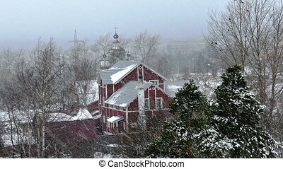 Country House And Church During Snow Blizzard - Red Wooden...