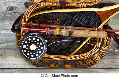 Creel filled with trout fishing equipment - Antique fly...