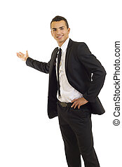man giving a presentation - young cheerful business man...
