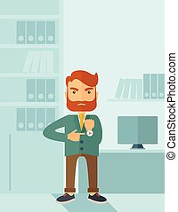 Angry businessman - A hipster Caucasian businessman with...