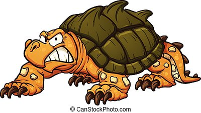 Snapping turtle - Angry snapping turtle Vector clip art...
