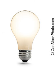 Lit Light Bulb - Classic Light Bulb Lit Up Isolated on a...