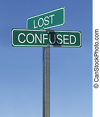 Lost Confused Sign - Two Green Street Signs Lost and...
