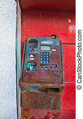 Old payphone - Out of order payphone in a very bad state