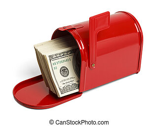 Mail Tax Return - Red Mailbox with Money Sticking Out...