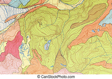 Map Topographical - Organic Multi Colored Zoned Topogrphical...