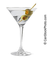 Martini Glass and Alcohol with Green Olives Isolated on...