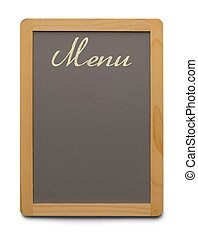 Menu Board - Grey Chalk Board With Wood Trim and Copyspace...