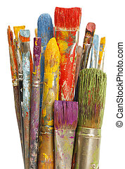 Messy Paint Brushes - Group of Paint Brushes with Differnet...