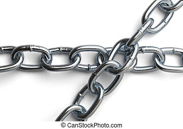 Metal Chain - Chrome Chain Overlaping Isolated on a White...