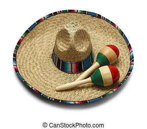 Mexican Sombrero - Fiesta Hat with Maracas Isolated on White...