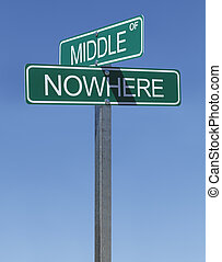 Middle of Nowhere - Two Green Street Signs Middle of Nowhere...