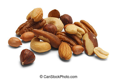 Mixed Nuts - Variety of Mixed Nuts Isolated on White...
