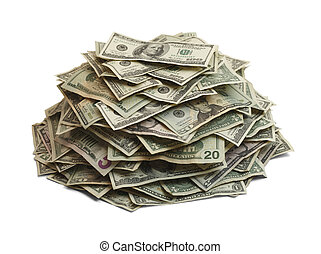 Money Pile - Pile Of Cash Isolated On White Background.