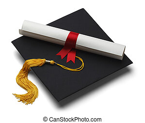 Mortar Hat and Degree - Black Graduation Hat with Degree...